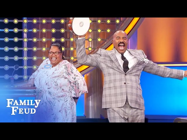 Steve Harvey goes wild for Jerri's answer! | Family Feud