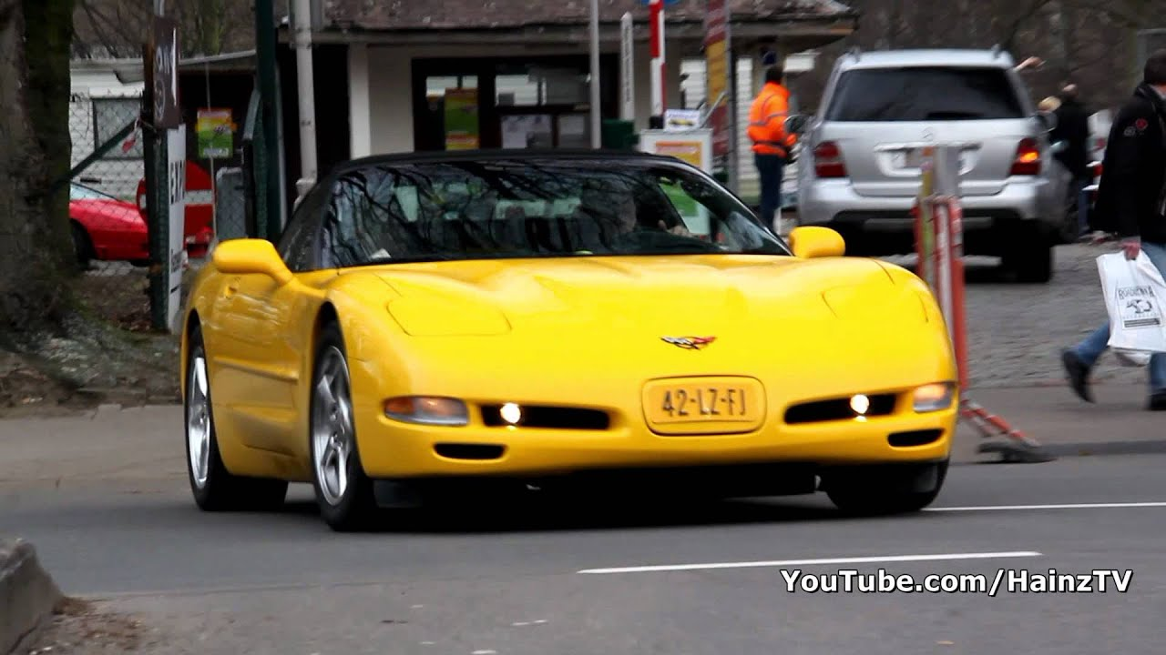 Yellow Chevrolet Corvette C5 Convertible Accelerating