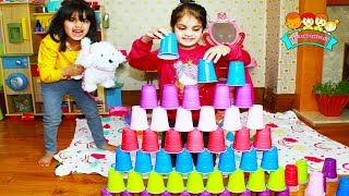 Ashu and Cutie Playing with Coloured Cups | Katy Cutie Show