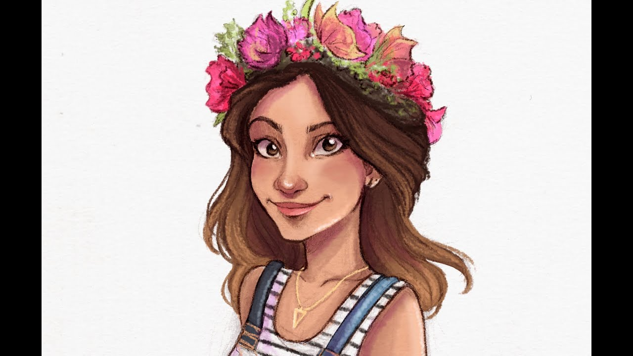 Digital speed painting flower crown youtube izmirmasajfo