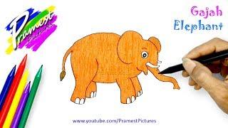 Gajah 🎨 Cara belajar menggambar dan mewarnai gambar hewan (How to draw an Elephant)