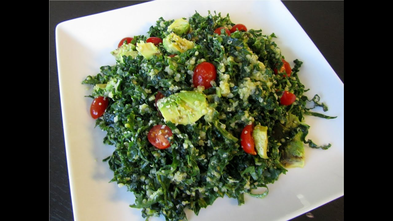 Kale Salad with Citrus Avocado Dressing - YouTube