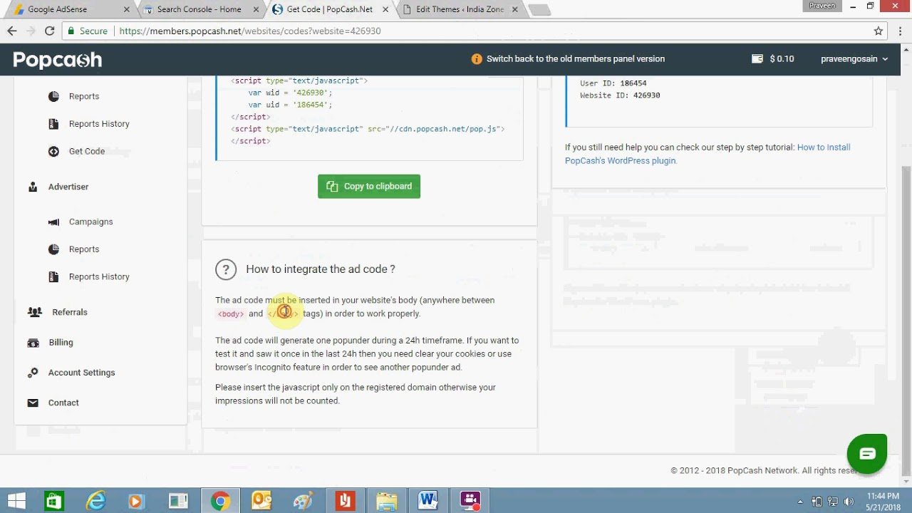 How To Add Popcashnet To Your Wordpress Website Popcash Google