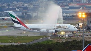 Airbus A380-800 Emirates First landing and baptism at Guarulhos