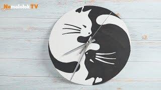"""Дизайнерские часы """"Черная кошка - белый кот"""" своими руками"""