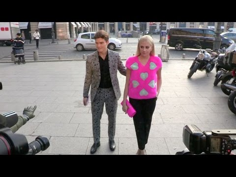 Pixie Lott and Oliver Cheshire at the Schiaparelli Fashion Show in Paris.