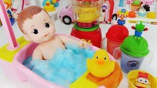 Baby Doll Bath time play Pororo toys 뽀로로 콩순이 믹서기 목욕놀이 콩콩이 인형 쥬스 장난감 バスタイム Ванна время thời gian tắm