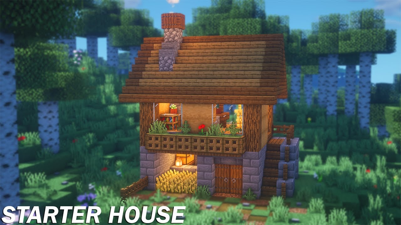 Minecraft Simple Starter House Tutorial How To Build A Starter House In Minecraft Youtube