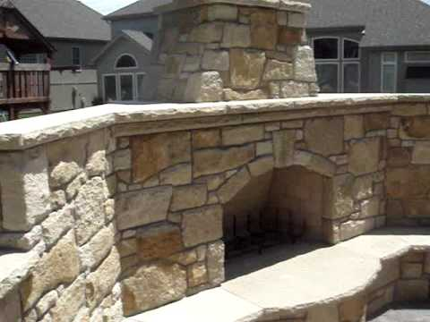 Custom firerock outdoor fireplace by masonry art llc for Firerock fireplaces