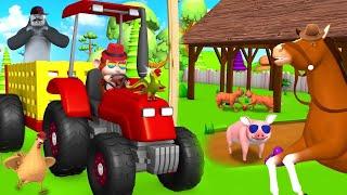 Monkey Driving Tractor to Feed Farm & Barn Animals 3D Funny Videos   3D Cartoon Animals Videos