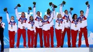 Награждение сборной России по фигурному катанию на Олимпиде 2014