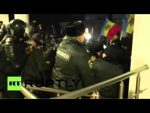 Protesters break into parliament in Moldova, clash with police
