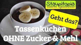 Tassenkuchen Schoko Erdnuss OHNE MEHL & OHNE Zucker in der Mikrowelle zubereiten - 3 Minuten Kuchen