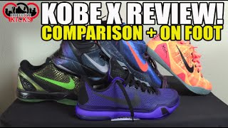 Nike Kobe 10 (X) Review Comparison (Kobe 6/7/8/9) & On Feet