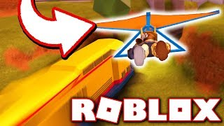 ROBBING THE TRAIN WITH THE NEW HANG GLIDER!! (Roblox Jailbreak Gliders Update)