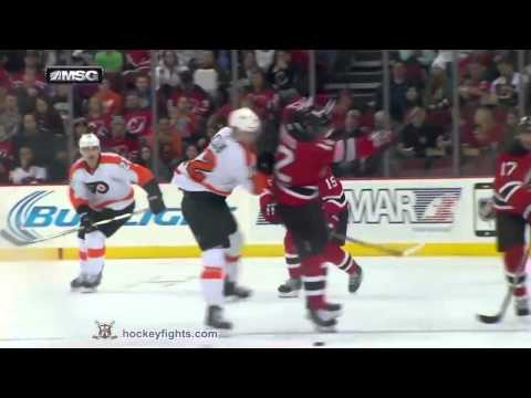 Flyers vs Devils: 4 fights per game (Rinaldo, Raffl, Simmonds, Schenn). 3 jan 2015