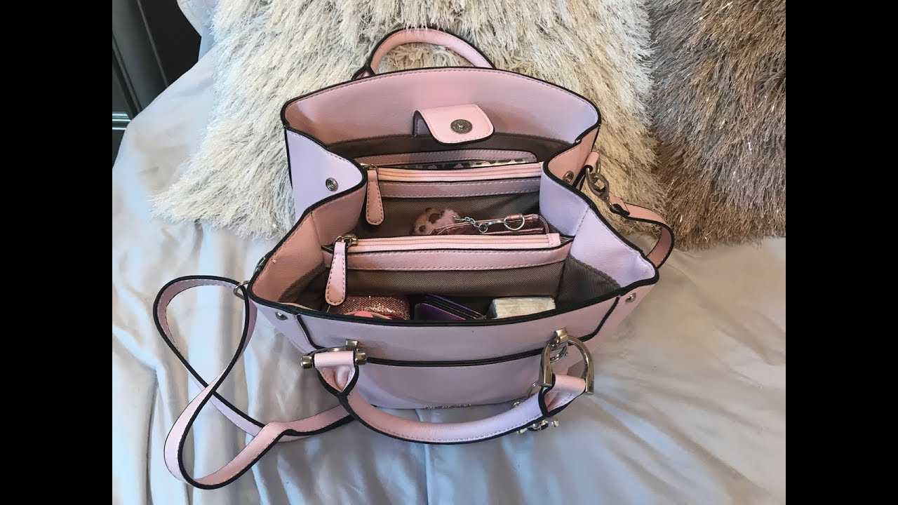 What S In My London Fog Petal Pink Wembley Satchel Bag Youtube