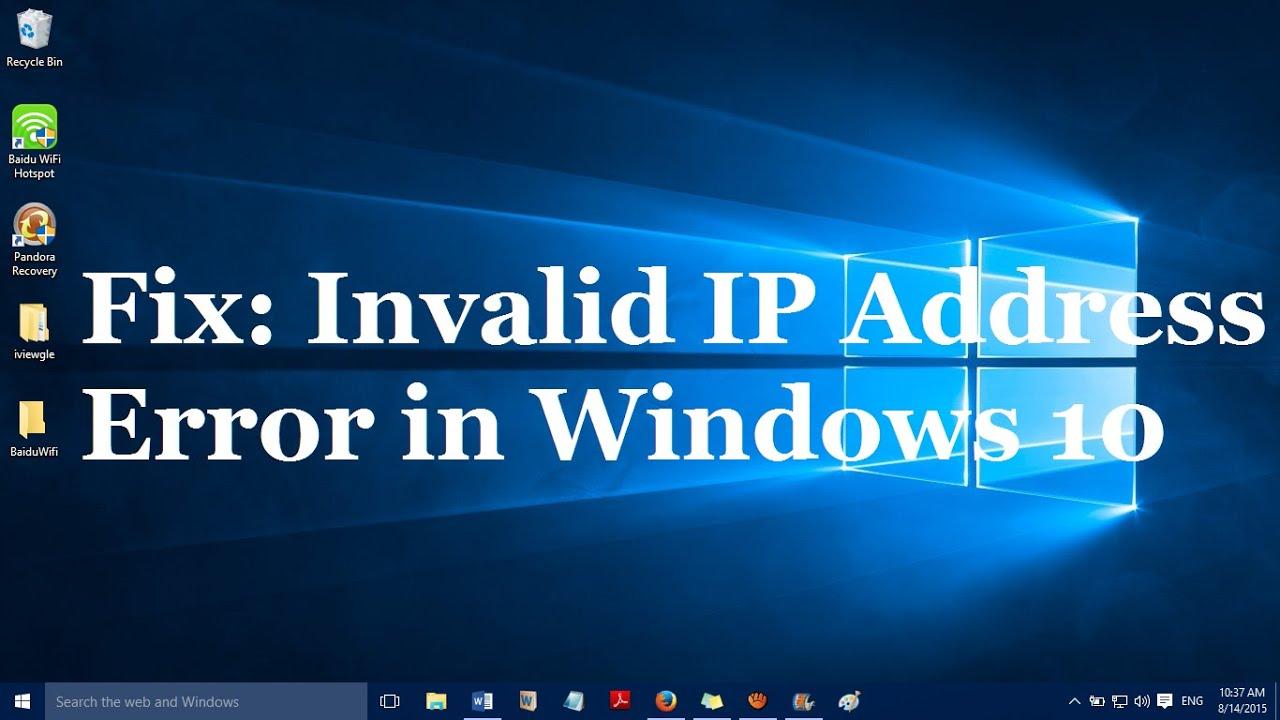 invalid ip address windows 10