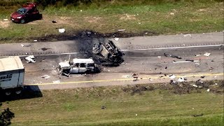 At least 4 people are killed after fiery crash on major interstate