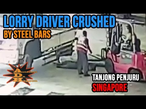 Lorry Driver Crushed by Steel Bars