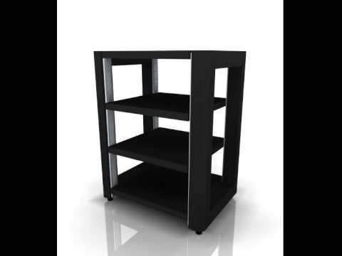 audiobase reference hifi rack 820 4 schwarz mattlack youtube. Black Bedroom Furniture Sets. Home Design Ideas