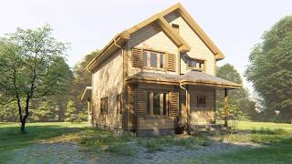 Двухэтажный каркасный дом 8х10. Проект КД-38. Внешний вид.