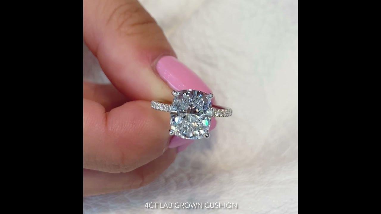 4 Carat Lab Grown Cushion Cut Diamond Ring