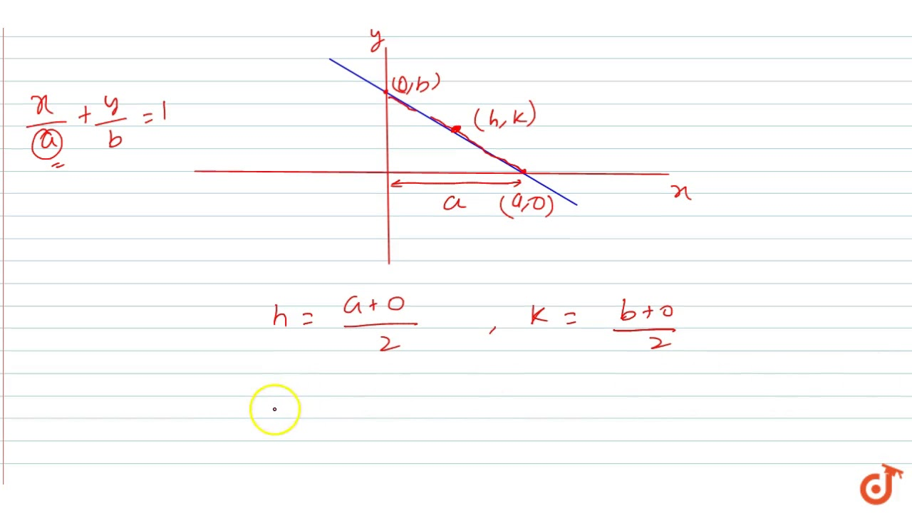 intercept form x/a+y/b=1  For a variable line `x/a + y/b = 5, a + b = 50`, the locus of mid point of  the intercept of th...