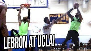 LEBRON JAMES Hoops at UCLA Gym VS LiAngelo Ball, UCLA & NBA Players!