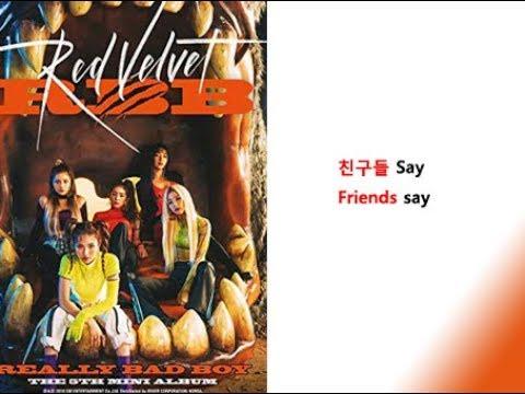 Red Velvet -  Really Bad Boy Lyrics Video For Korean Learners