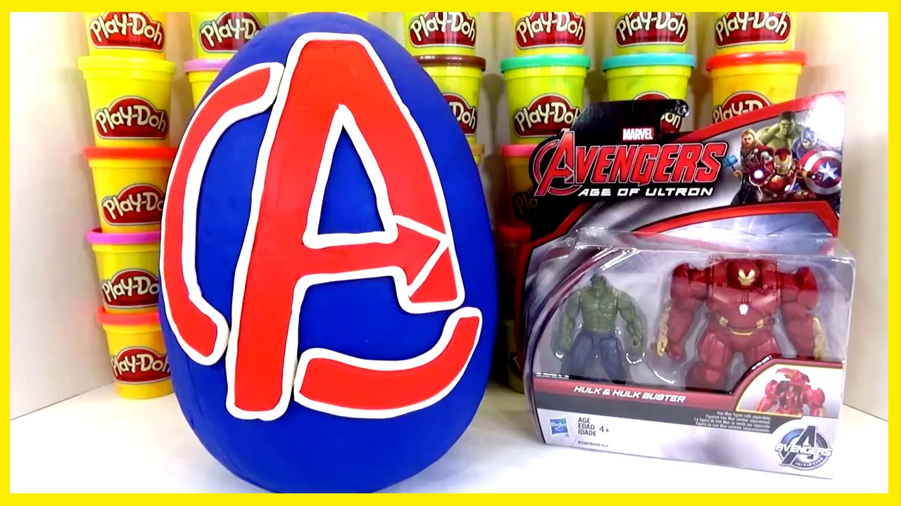 AVENGERS GIANT PLAY DOH SURPRISE EGG WITH HULK AND IRON MAN HULKBUSTER TOYS