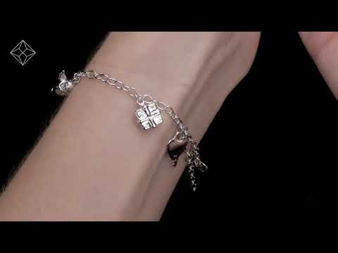 UD3270 - SILVER LUCKY IN LOVE KEY AND HEART CHARM BRACELET - TESORO COLLECTION