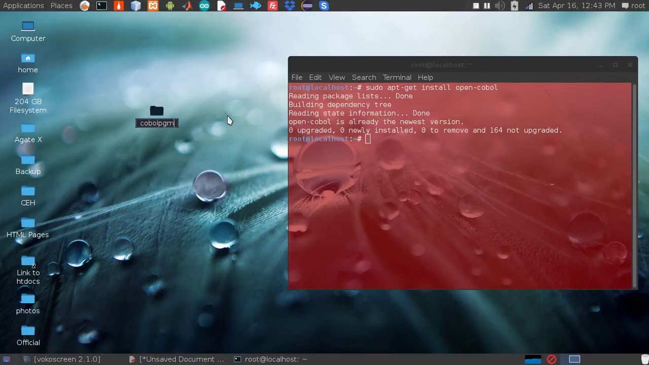 Compile and run a cobol program in Linux using open-cobol