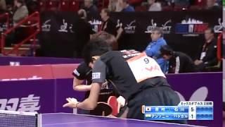【世界卓球2013】混合ダブルス2回戦 吉村真晴・石川佳純vsアンソニー・パトカル(インド)