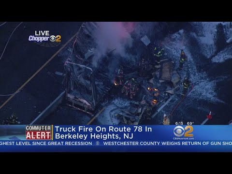 Truck Fire On Route 78 In Berkeley Heights, NJ