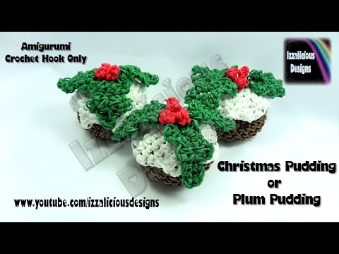 Rainbow Loom Christmas/Xmas Pudding/Plum Pudding Amigurumi Crochet Charm - Loom-less/Hook Only