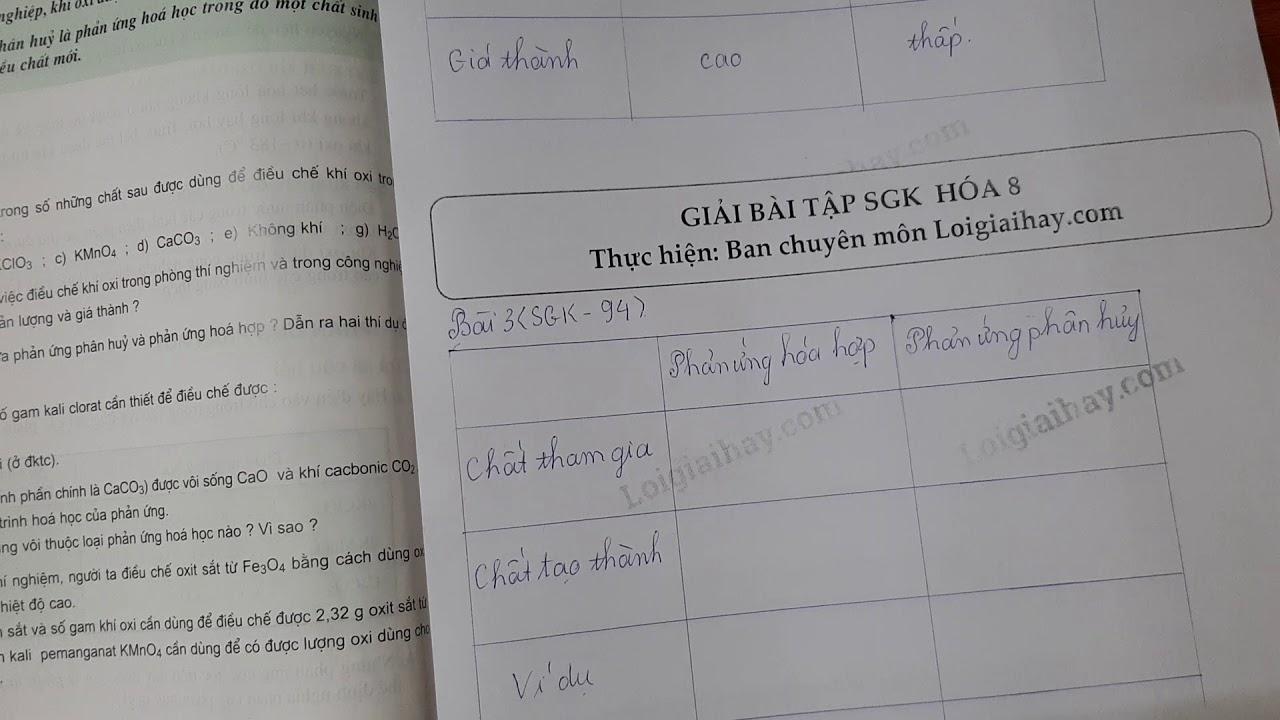 Giải bài 3 trang 94 SGK Hóa học 8