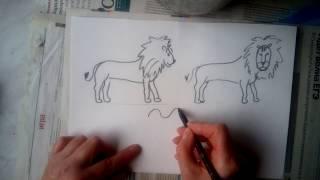 как нарисовать  верблюда и льва