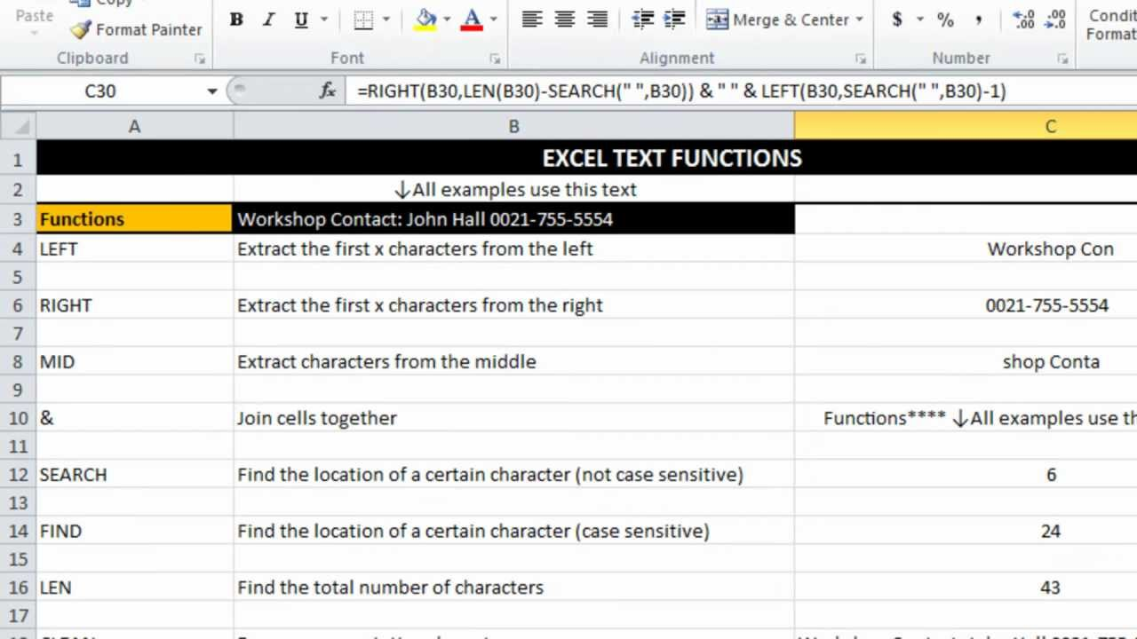 how to trim and clean in excel