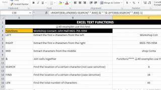 EAF#3 - Excel Text Functions - LEFT, RIGHT, MID, &, LEN, TRIM, CLEAN