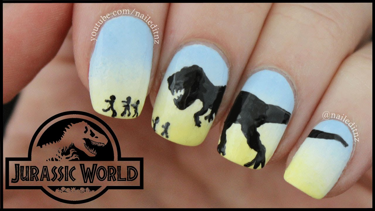 Jurassic World Dinosaur Nail Art T Rex Youtube
