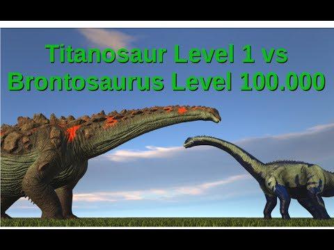 Titanosaur (lvl 1) vs Brontosaurus (lvl 100.000) || ARK: Survival Evolved || Cantex