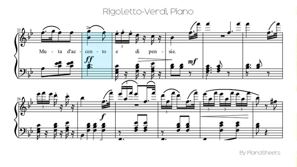 Rigoletto Verdi Piano Solo Youtube
