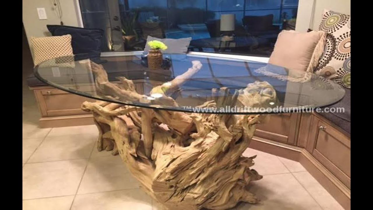Driftwood dining table, driftwood kitchen table - YouTube