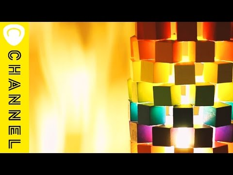 カラフルなウッドモザイクランプDIY♪ Colorful wood mosaic lamp DIY ♪