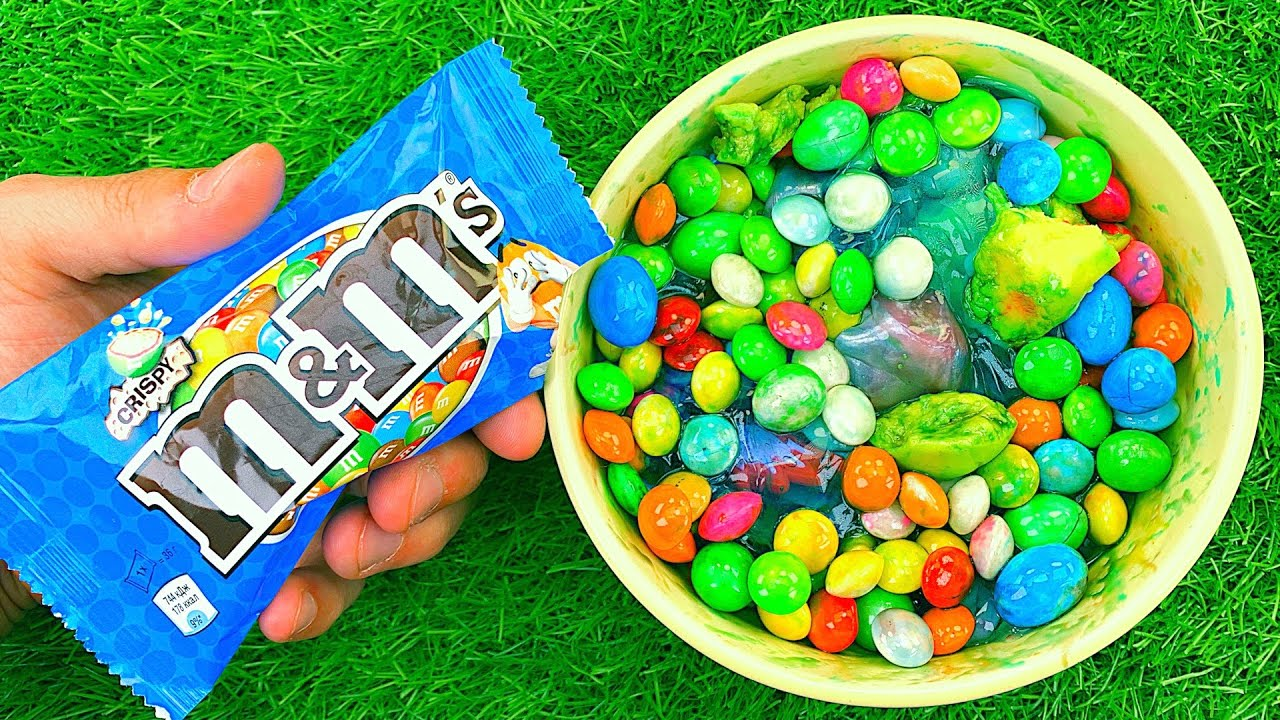 Satisfying Video l Mixing M&M Candy with Glossy Slime & Rainbow Glitter Playdoh Balls Cutting ASMR