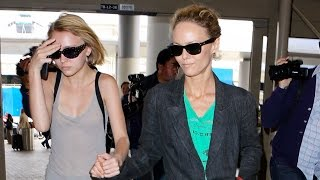 Vanessa Paradis And Chanel Model Daughter Lily-Rose Depp Catch Flight