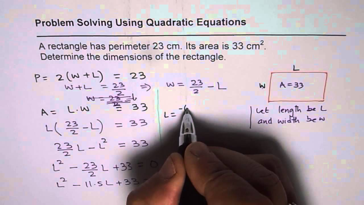 Find rectangle dimensions with given perimeter and area youtube ccuart Gallery
