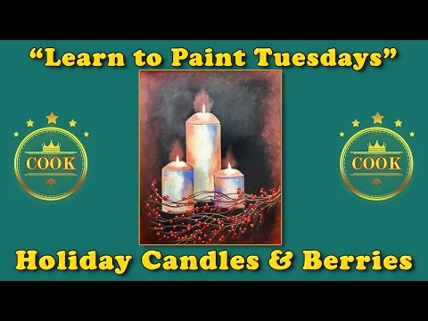 Holiday Candles and Berries - Learn to Paint Tuesday Live with Ginger Cook Acrylic Painting Tutorial