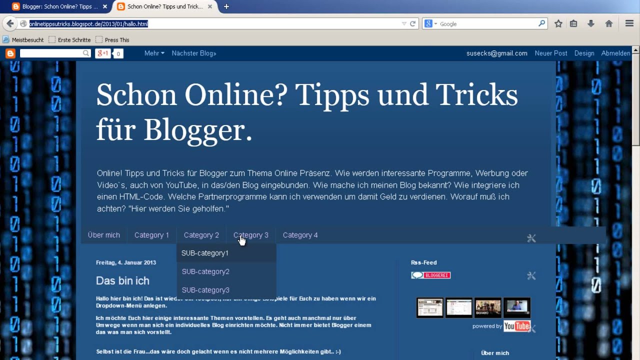 Dropdown Menü einbinden! Blogger.com! - YouTube